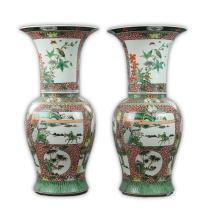 Pair Massive Chinese Famille Rose Porcelain ZUN Vases