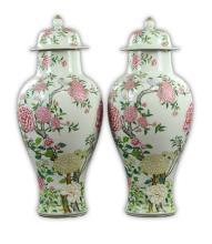 Pair Massive Chinese Famille Rose Porcelain Lidded Vases