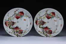 Pair Fine Chinese Antique Famille Rose Porcelain Plates