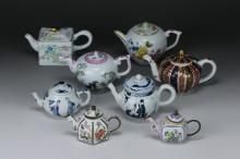 Eight (8) Chinese Antique Famille Rose & Blue & White Porcelain Teapots