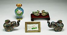 Group Of Six (6) Chinese Cloisonne Bronze Items