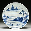 A Chinese Antique Blue & White Porcelain Platter