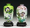Two (2) Japanese Antique Ginbari Cloisonne Vases