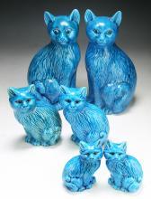 Six (6) Chinese Blue Glazed Porcelain Cats