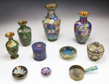 Ten (10) Chinese Cloisonne On Bronze Items