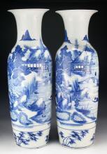 Pair Massive Chinese Blue & White Porcelain Vases