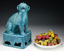 Three (3) Chinese Porcelain Blue Glazed Dog & Fruits With Plate