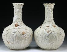 Pair Chinese Antique White Glazed Porcelain Vases