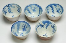 Five (5) Chinese Antique Blue & White Porcelain Cups