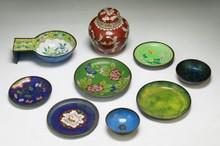Ten (10) Chinese Antique Cloisonne Bronze Items
