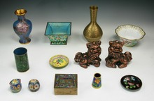 Thirteen (13) Chinese Antique Cloisonne & Mixed Items