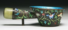A Chinese Antique Silver Cloisonne Bowl/Scooper