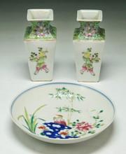 Three (3) Famille Rose Porcelain Vases & Plate