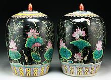 Pair of Chinese Vintage Famille Verte Porcelain Jars With Covers