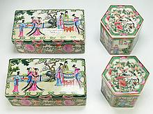 Four (4) Chinese Rose Medallion Porcelain Boxes