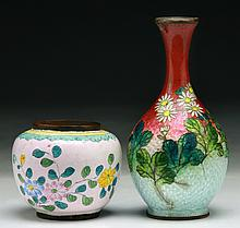 Two (2) Chinese & Japanese Cloisonne Vases