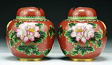 Pair of Chinese Antique Cloisonne Brass Vases With Covers