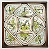 A Chinese Antique Porcelain Meat Tray Set With Wood Box