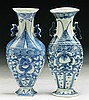 Pair of Chinese Antique Blue & White Porcelain Wall Vases