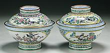 Pair of Chinese Cloisonne Bronze Bowls With Covers