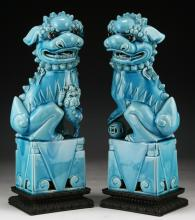 Pair of Chinese Antique Blue Glazed Porcelain Foo Dogs