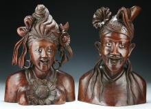 Two (2) Balinese Wood Carved Statues