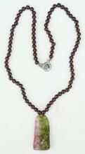 A Tourmaline & Precious Stone Pendant Necklace