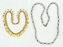 Two (2) Agate & Quartz Necklaces
