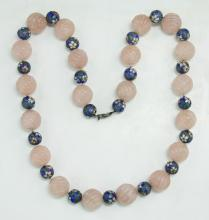 A Rose Quartz & Cloisonne Beaded Necklace