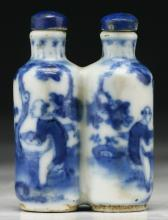 A Chinese Antique Blue & White Twin Porcelain Snuff Bottle