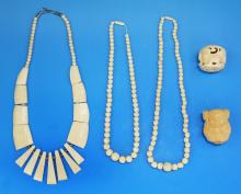 Five (5) Antique Carved Ivory or Like Items