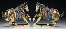 Pair Chinese Antique Polychrome Ivory Carved Horses