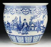 A Big Chinese Antique Blue & White Porcelain Planter