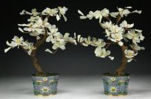 Pair Chinese Carved Serpentine Jade Bonsai