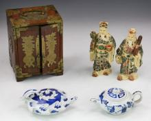 Five (5) Chinese Porcelain, Wood & Bakelite Items