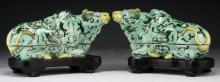 Pair Chinese Famille Rose Ox Shaped Porcelain Tureens