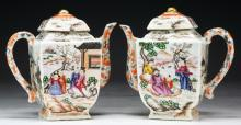 Pair Chinese Famille Rose Porcelain Teapots With Covers