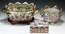 Three (3) Chinese Rose Medallion Porcelain Jars & Box With Cover