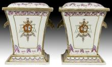 Pair Chinese Antique Famille Rose Porcelain Lidded Vases