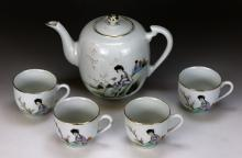 Five (5) Chinese Famille Rose Porcelain Teapot & Cup Set