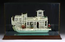 A Chinese Antique Polychrome Ivory Carved Boat