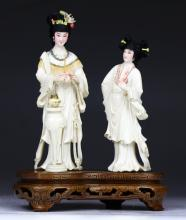 A Chinese Antique Polychrome Ivory Carved Figure Group