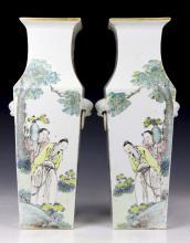 Pair Big Chinese Antique Famille Rose Porcelain Vases