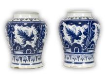 Pair Big Chinese Antique Blue & White Porcelain Jars