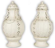 Pair Chinese Antique White Glazed Porcelain Lidded Vases