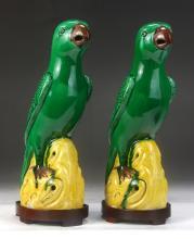 Pair Chinese Antique Sancai Porcelain Parrots