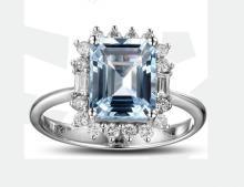 18k White Gold 2.44ct Aquamarine and Diamond Ring
