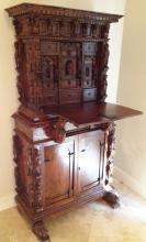 Antique Hand Carved German Secretary Cabinet