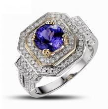 18k Two-Tone Gold 1.46ct Tanzanite 1.08ct Diamond Ring
