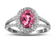 14k White Gold 1.49ct Tourmaline Diamond Ring